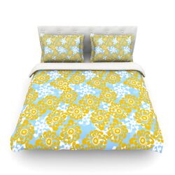 Blue and Yellow Flowers by Nandita Singh Woven Duvet Cover