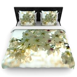 Cherry Blossoms by Robin Dickinson Woven Duvet Cover