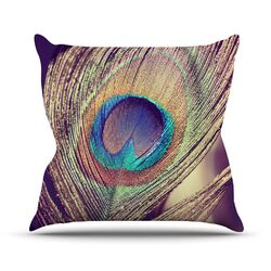 Proud as a Peacock by Nastasia Cook Feather Throw Pillow