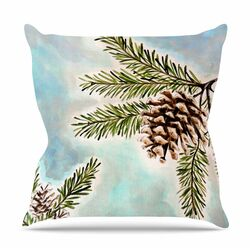 Pinecones and Sky by Christen Treat Throw Pillow