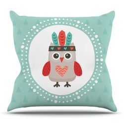 Hipster Owlet Mint Coral by Daisy Beatrice Throw Pillow