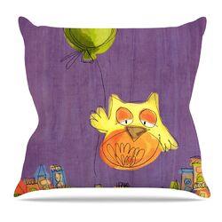 Owl Balloon by Carina Povarchik Throw Pillow