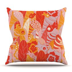 Fishes Here, Fishes There by Akwaflorell Throw Pillow
