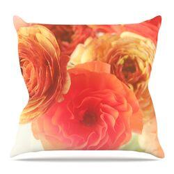 Coral Ranunculus by Debbra Obertanec Throw Pillow