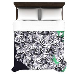 Inky Flowers on Green Duvet Cover Collection