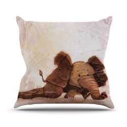 The Elephant with the Long Ears Throw Pillow
