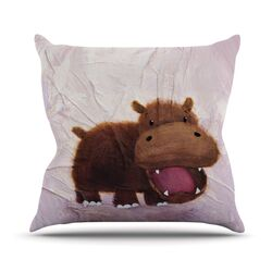The Happy Hippo Throw Pillow