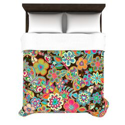 My Butterflies and Flowers in Brown by Julia Grifol Woven Duvet Cover