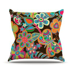 My Butterflies and Flowers Throw Pillow