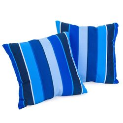 Milano Colbalt Blue Striped Sunbrella Pillow