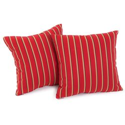 Hardwood Crimson Red Striped Sunbrella Pillow