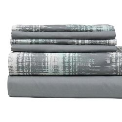 Texture Printed City Microfiber Sheet Set in Grey