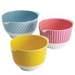 3 Piece Countertop Accessories Melamine Mixing Bowl Set