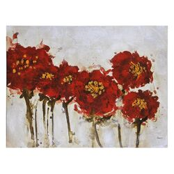 Crimson Blossoms by Pierrick Paradis Painting Print on Canvas