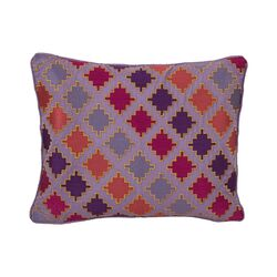 Ziggurat Diamond Geo Embroidered Decorative Pillow