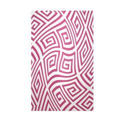 Decorative Geometric Fushia/White Area Rug