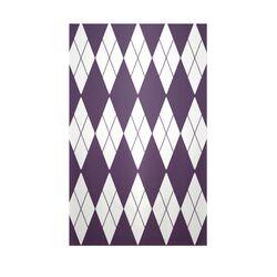 Decorative Geometric Grape Royale/White Area Rug