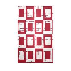 Decorative Geometric Area Red/White Area Rug