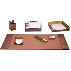 Crocodile Embossed Leather 7-Piece Desk Set