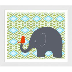 Elephant with Red Bird Framed Art