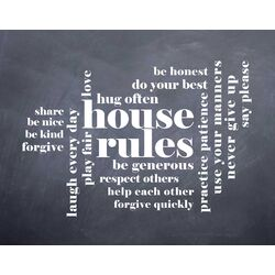 'House Rules' by Susan Newberry Textual Art in Black and White