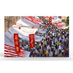 Hong Kong Marketplace Canvas Art Print