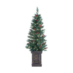 4' Green Tucson Pine Christmas Tree with 100 Clear Lights with Pot and Stand