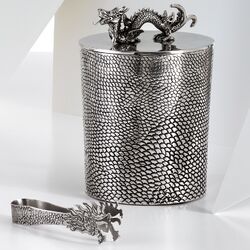 Ice Bucket With Dragon Ice Tong with Stainless Steel Liner