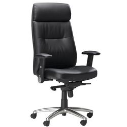 High-Back Leather Pivot Office Chair with Arms