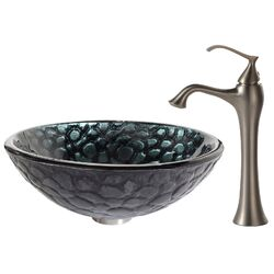 Kratos Glass Vessel Sink with Ventus Faucet