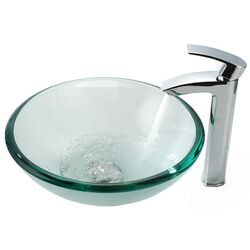 Clear Glass 19 mm Vessel Sink and Visio Bathroom Faucet in Chrome