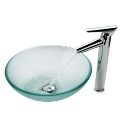 Frosted Vessel Sink and Decus Bathroom Faucet