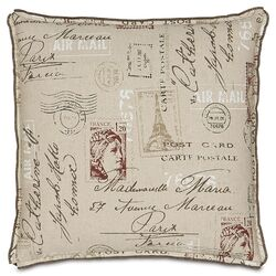 French Country Postage Stamp Pillow