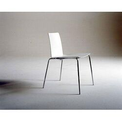 Leaf Stacking Armless Chair in White / Chrome by Carlo Colombo