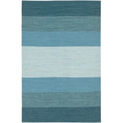India Blue Striped Area Rug