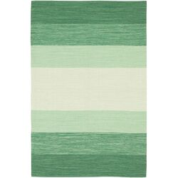 India Green Striped Area Rug