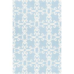 Makenna Hand-Tufted Blue/Cream Area Rug