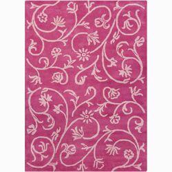 Bajrang Pink Swirl Floral Area Rug