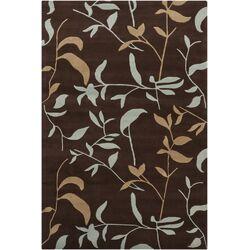 Hanu Leaves Brown Floral Area Rug