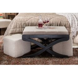 Elegant Upholstered Bench with Ottomans
