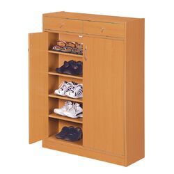 Brick Modern 5 Shelf Shoe Cabinet with 2 Drawers