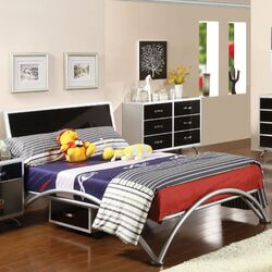 Modesto Metal Bed in Silver and Black Tones