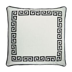 Greek Key Embroidered Throw Pillow