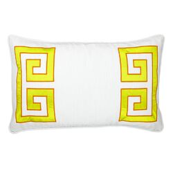 Parenthetikey Embroidered Greek Key Lumbar Throw Pillow