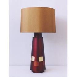 Checkered Tower Table Lamp in Raku with Gold Shade