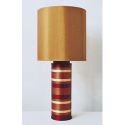 Striped Cylinder Table Lamp in Raku with Gold Shade