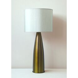 Striped Val Table Lamp in Olive with Pebble Shade