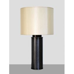 Midnight Matrix Table Lamp with Pebble Shade in Black and Silver