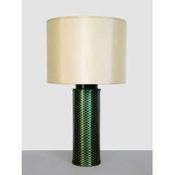 Emerald Matrix Table Lamp with Pebble Shade in Gold and Emerald