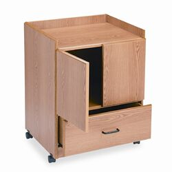 Mobile Deluxe Coffee Bar, 23 x 19 x 30-3/4, Medium Oak